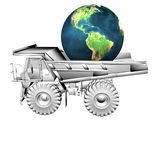 Truck and globe Stock Images