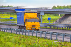 Truck goes on an automobile outcome Royalty Free Stock Images