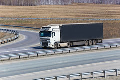 Truck goes on a highway Stock Image