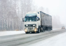 Truck Goes On Winter Road Stock Photography