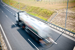 Truck is going along the highway Royalty Free Stock Image