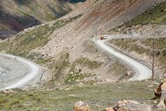 Truck going from Kumtor gold mine. Kyrgyzstan Royalty Free Stock Photography