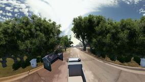 Truck going on a road surrounded by trees stock video