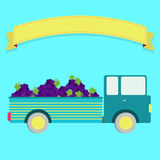 Truck with grape harvest. Truck carrying grapes. Blank ribbon for insert text Royalty Free Stock Photo