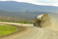 Truck on a gravel highway Royalty Free Stock Images