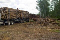 Truck hauling logs Stock Photos