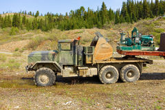 A truck hauling materials needed for mining gold at otter creek, bc, Stock Images