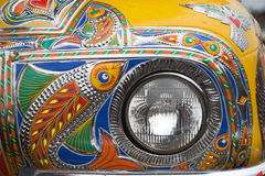 Truck headlight. Truck paintingis a popular form of indigenous art inAfghanistan,Pakistan,India, and otherSouth Asiancountries, featuring floral Royalty Free Stock Image