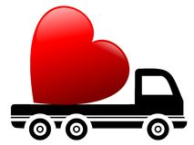 Truck and heart Royalty Free Stock Images