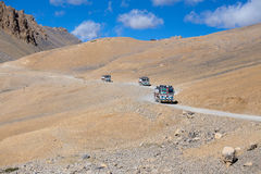 Truck on the high altitude Manali - Leh road , India. LADAKH, INDIA - SEPTEMBER 09 2014: Truck on the high altitude Manali-Leh road in Lahaul valley, state of Stock Image