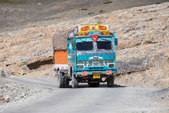Truck on the high altitude Manali - Leh road , India Royalty Free Stock Photography