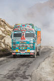 Truck on the high altitude Manali - Leh road , India Royalty Free Stock Images