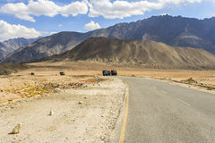Truck on the high altitude Srinaga-Leh road in Ladakh province Royalty Free Stock Photo