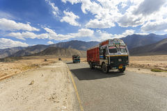 Truck on the high altitude Srinaga-Leh road in Ladakh province Royalty Free Stock Image