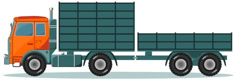 Truck with High and Low Trailers, Vector Royalty Free Stock Images