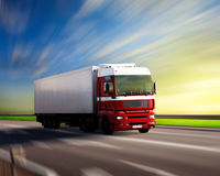 Truck on highway royalty free stock photos
