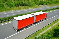 Truck on the highway. Stock Photos