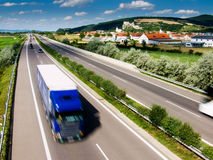 Truck on highway. In Slovakia Stock Images