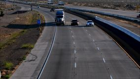 Truck on highway. Apple Valley ,California-USA May 8 2016: truck on highway stock video