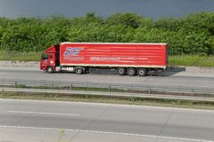 Truck on the highway Stock Photography