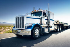 Truck and highway at day - transportation background Royalty Free Stock Image