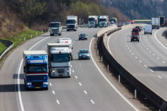 Truck on highway. Truck on the highway. road transport for goods royalty free stock photos