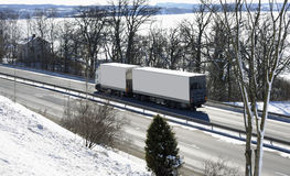 Truck, highway and snow Royalty Free Stock Photography