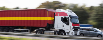 Truck on highway speed blur. A truck on highway speed blur Stock Images