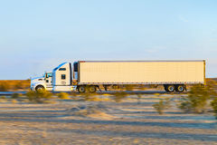Truck on highway 8 in sunrise Royalty Free Stock Photos
