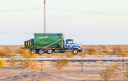 Truck on highway 8 in sunrise Royalty Free Stock Photo