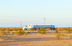 Truck on highway 8 in sunrise Royalty Free Stock Photography