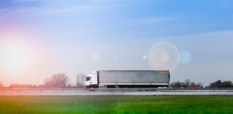 Truck on highway. Transportation truck on the road royalty free stock images