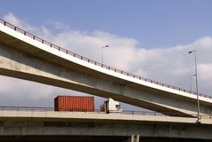 Truck in highway viaduct Stock Photography