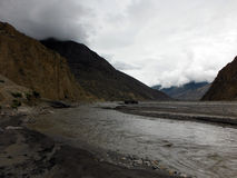 Truck in a Himalayan Riverbed during Monsoon Royalty Free Stock Image