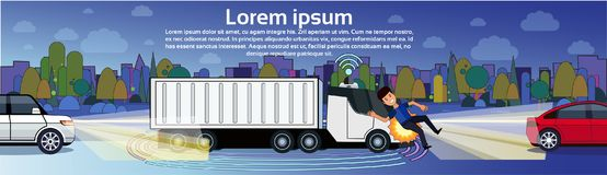Truck Hitting Man Pedestrian On Night Road Transport Accident Horizontal Banner With Copy Space. Flat Vector Illustration Stock Photos
