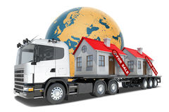 Truck with houses for sale Stock Image