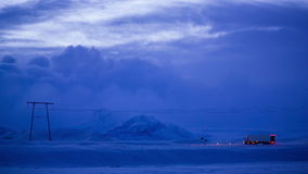 Truck in Iceland. The truck drives winter road after sunset in Iceland stock footage