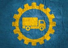 Truck icon in gear Stock Photo