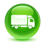 Truck icon glassy green round button Royalty Free Stock Image
