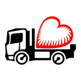 Truck icon with a heart symbol on the platform body. Black lorry deliver stylized red heart Stock Photo