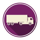 Truck icon with long shadow Royalty Free Stock Photos