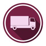 Truck icon with long shadow Royalty Free Stock Photo