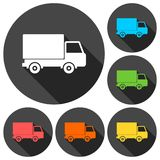 Truck icons set with long shadow Stock Photo