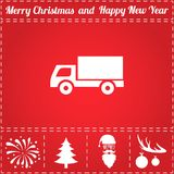 Truck Icon Vector. And bonus symbol for New Year - Santa Claus, Christmas Tree, Firework, Balls on deer antlers Royalty Free Stock Images