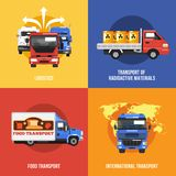 Truck Icons Flat Stock Photography
