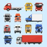 Truck Icons Set. Truck auto delivery transport vehicles decorative icons flat set isolated vector illustration Royalty Free Stock Photography