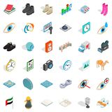 Truck icons set, isometric style. Truck icons set. Isometric style of 36 truck vector icons for web isolated on white background Stock Photos