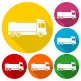 Truck icons set with long shadow. Vector icon Stock Photo
