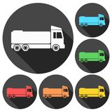 Truck icons set with long shadow. Vector icon Royalty Free Stock Photos