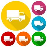 Truck icons set with long shadow Stock Images